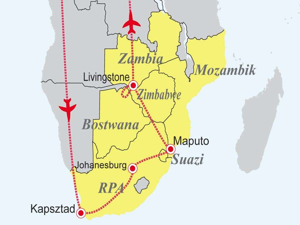 Sześć krajów Afryki - RPA - Suazi - Mozambik - Zambia - Zimbabwe - Botswana