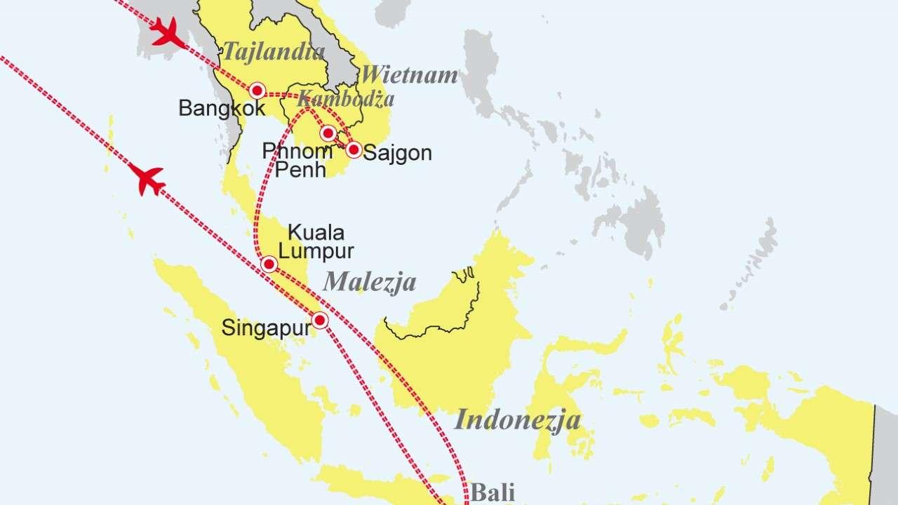 Sześć krajów Azji - Tajlandia - Wietnam - Kambodża - Malezja - Singapur - Indonezja