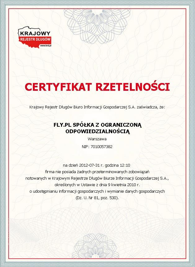 Certyfikat Rzetelna Firma