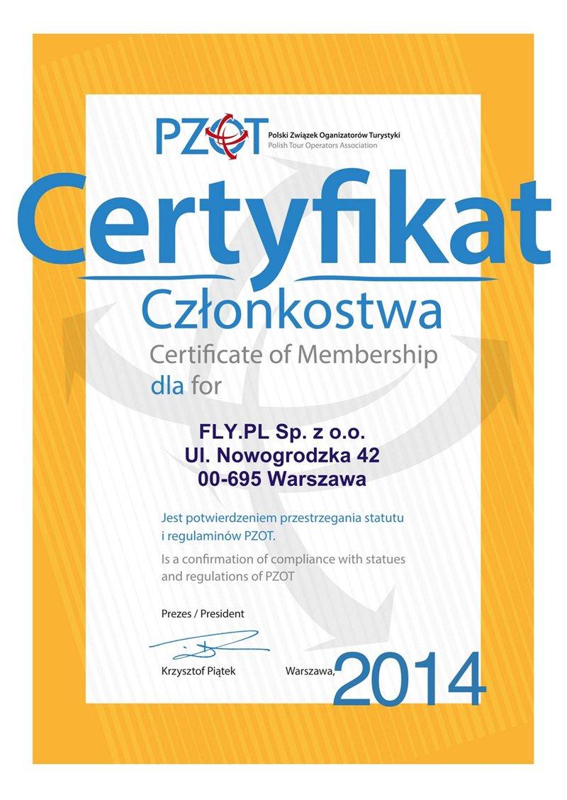 Certyfikat Członkowstwa Polskiego Związku Organizatorów Turystyki