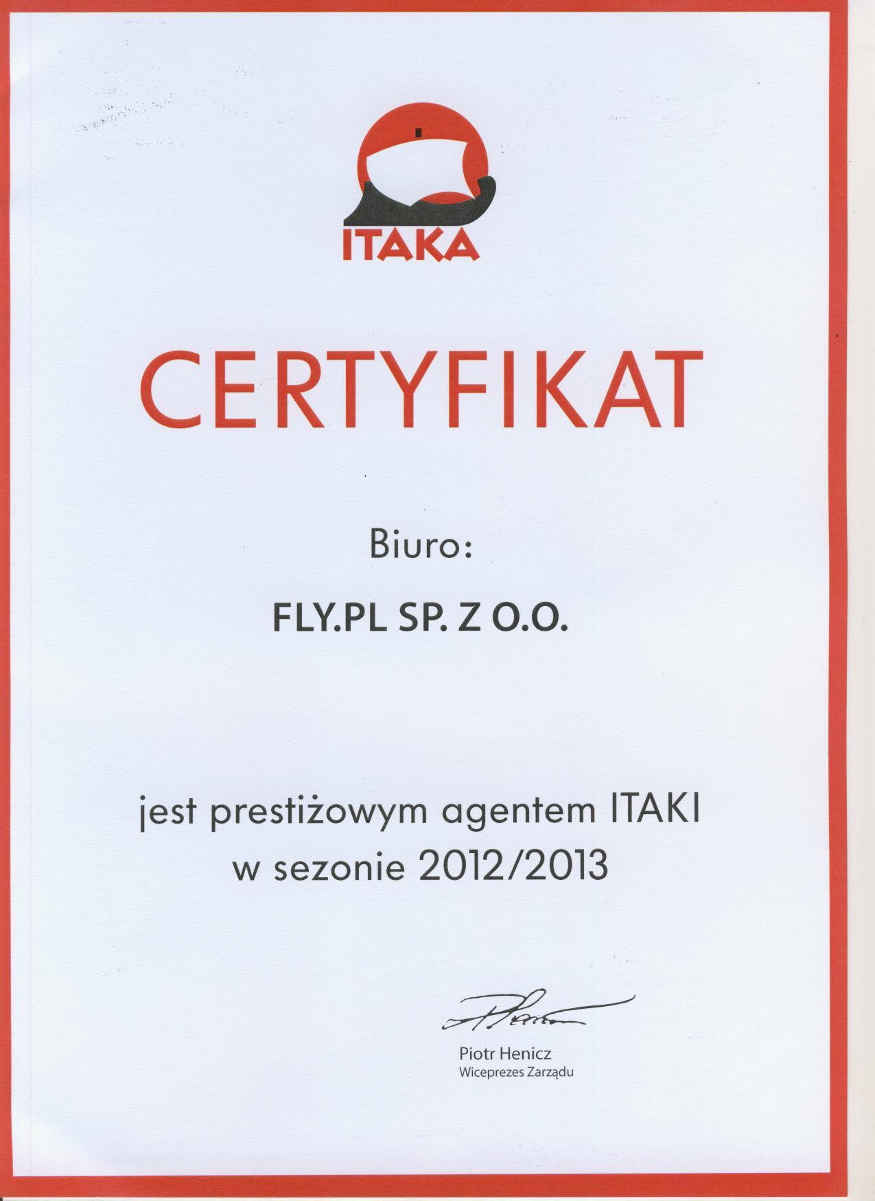 Prestiżowy Agent Itaka 2013