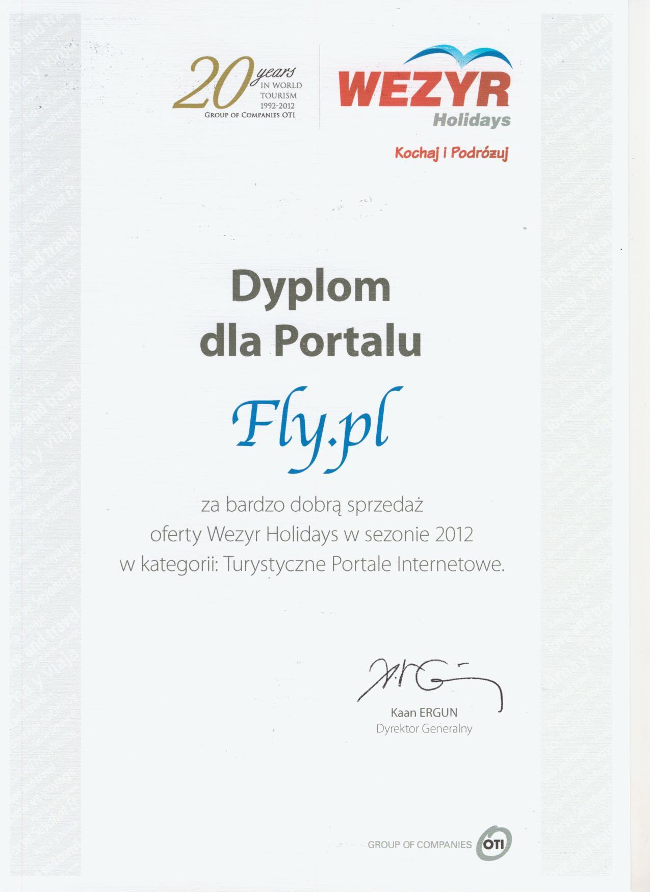 Dyplom uznania od Wezyr Holidays