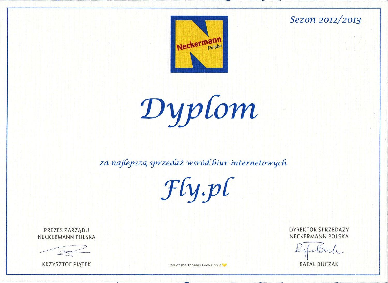 Dyplom za najlepszą sprzedaż Neckermann