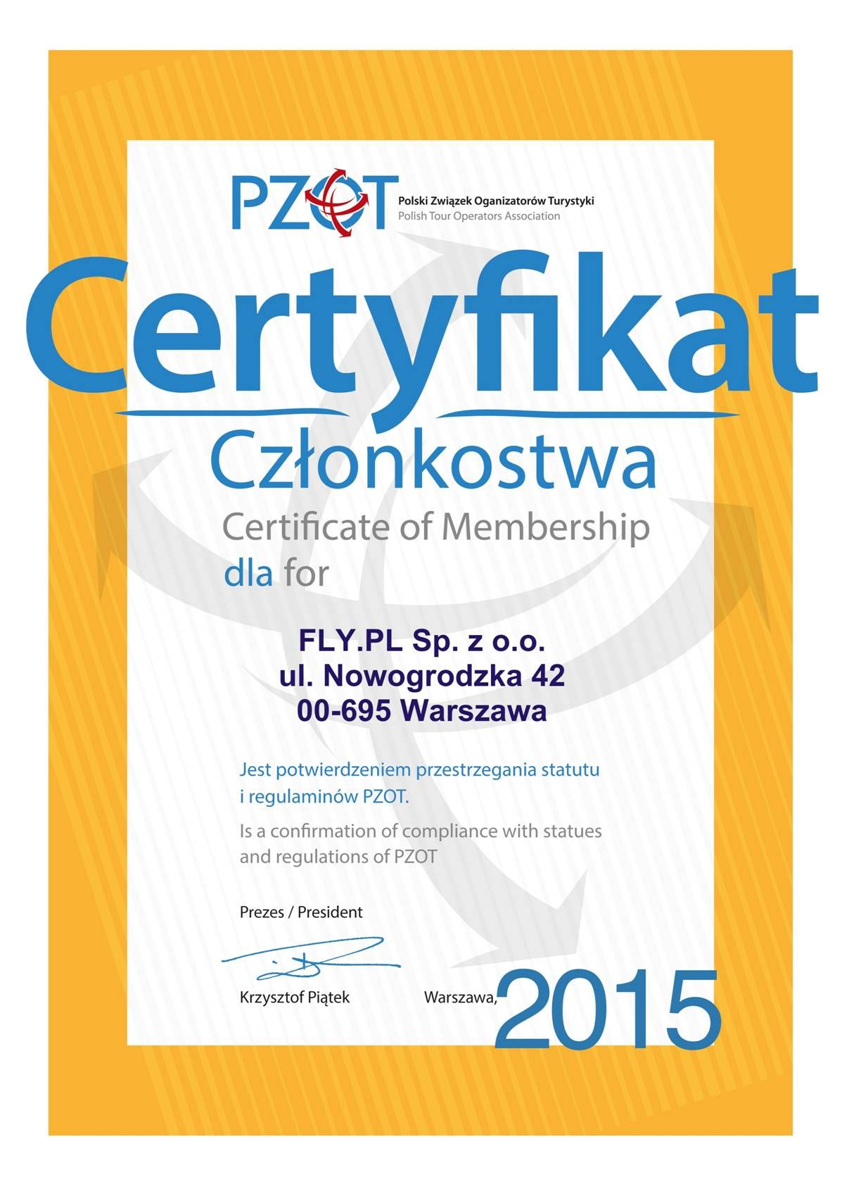 Certyfikat Członkostwa Polskiego Związku Organizatorów Turystyki