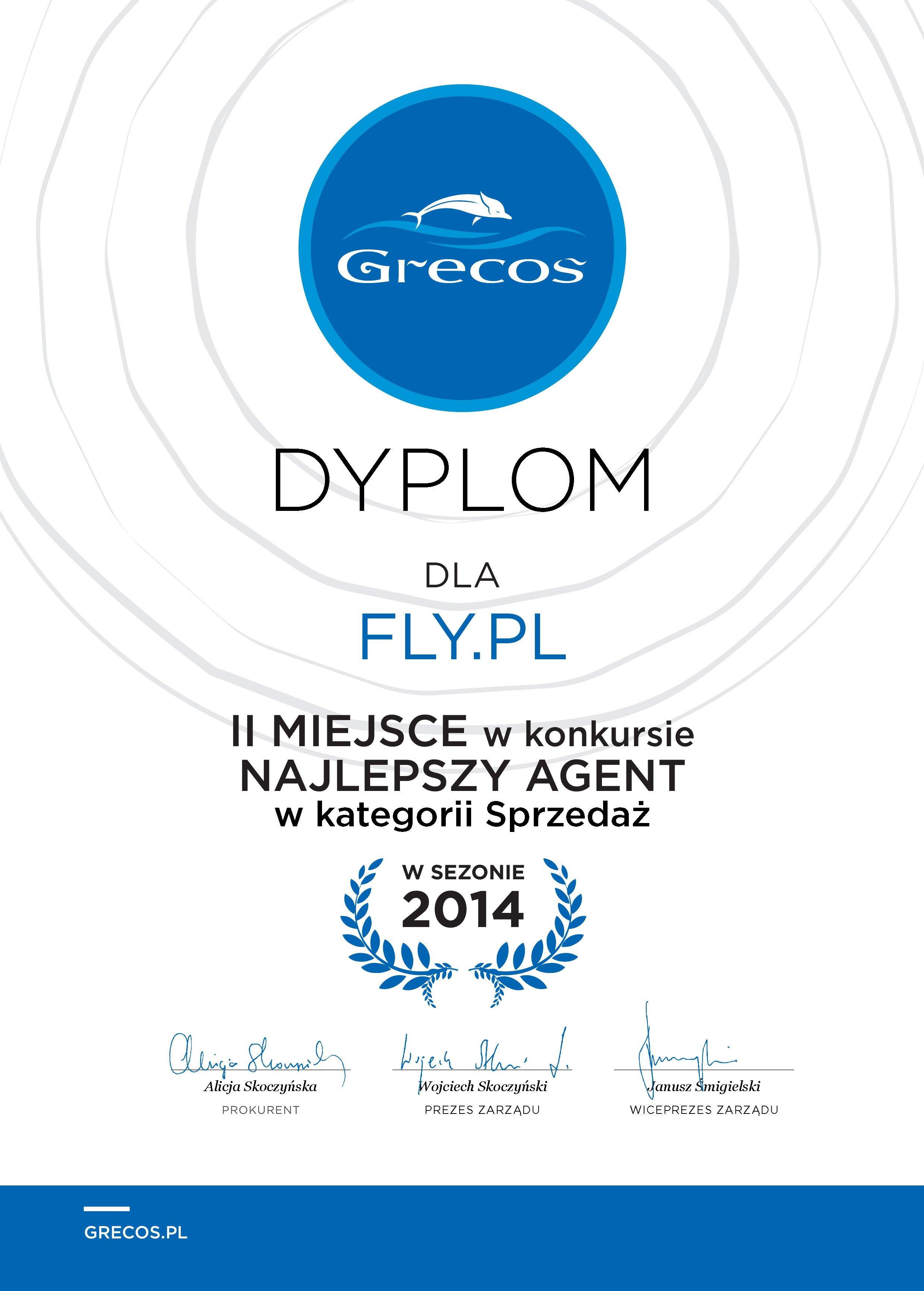 Dyplom Grecos Holiday dla FLY.PL