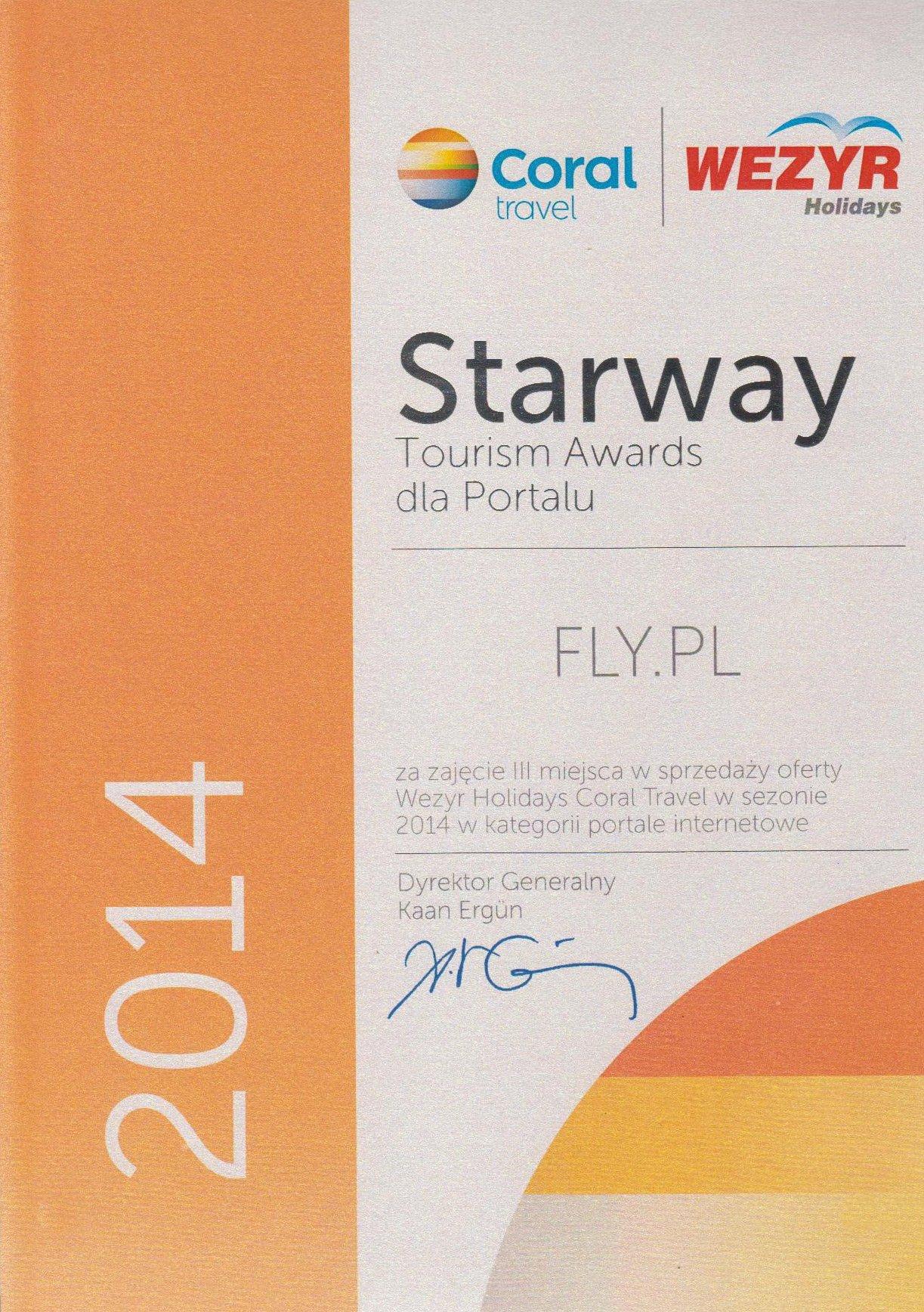 Dyplom Starway Tourism Awards od Coral Travel Wezyr Holidays