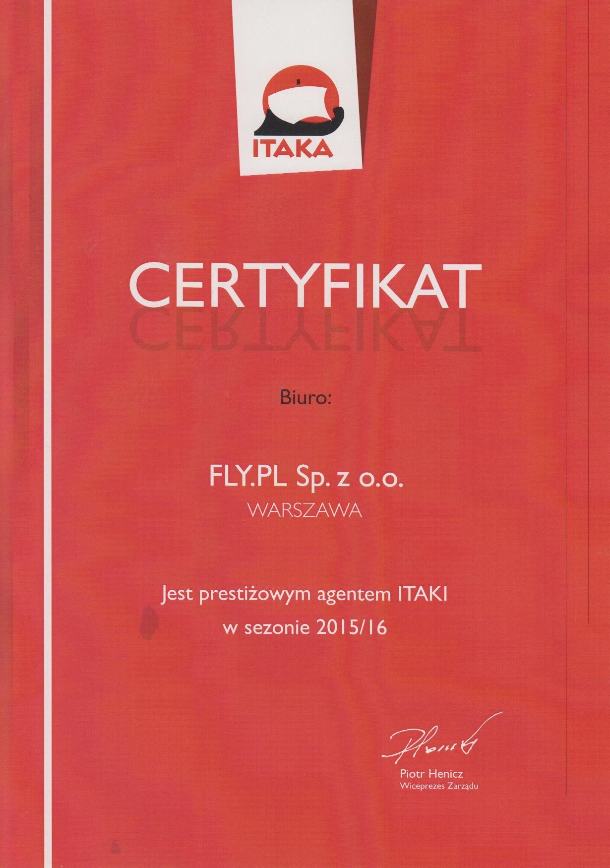 Certyfikat Prestiżowego Agenta Itaka 2015/2016