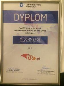 Wyróżnienie dla FLY.PL w kategorii m-Commerce w konkursie e-Commerce Polska awards 2016. Dziękujemy!