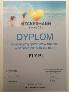 Dyplom za najlepszą sprzedaż od biura podróży Neckermann - dziękujemy!