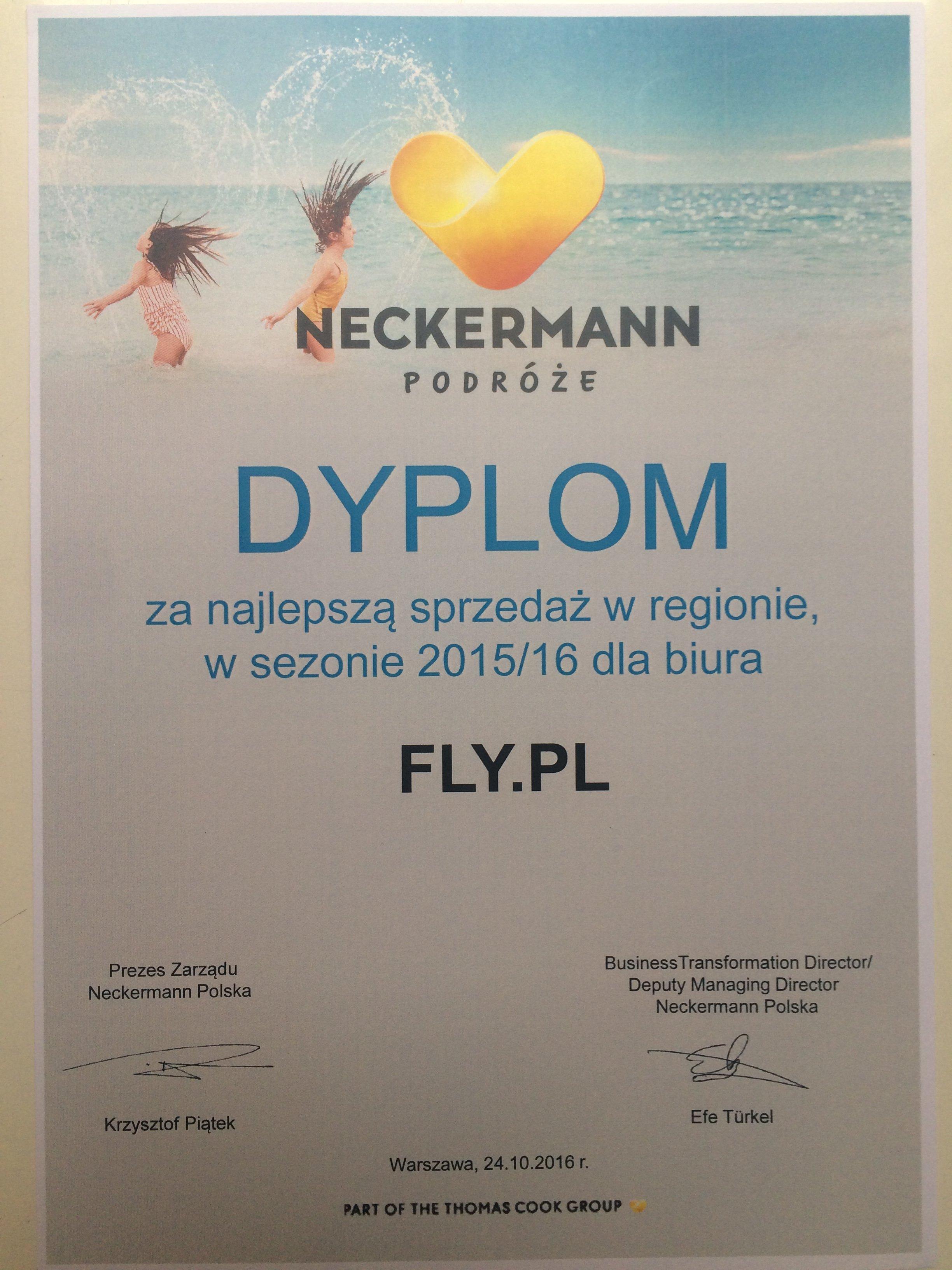 Dyplom za najlepszą sprzedaż w sezonie 2015/2016 od biura podróży Neckermann