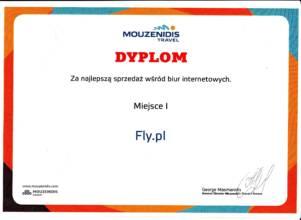 Dyplom za najlepszą sprzedaż od Mouzenidis Travel