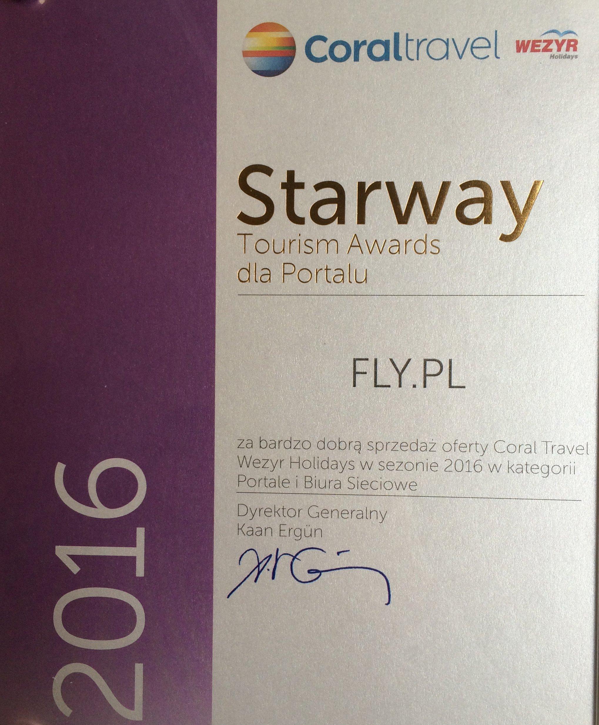 Starway Tourism Awards od Coral Travel Wezyr Holidays