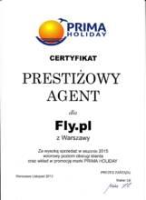 Certyfikat Prestiżowy Agent od Prima Holiday