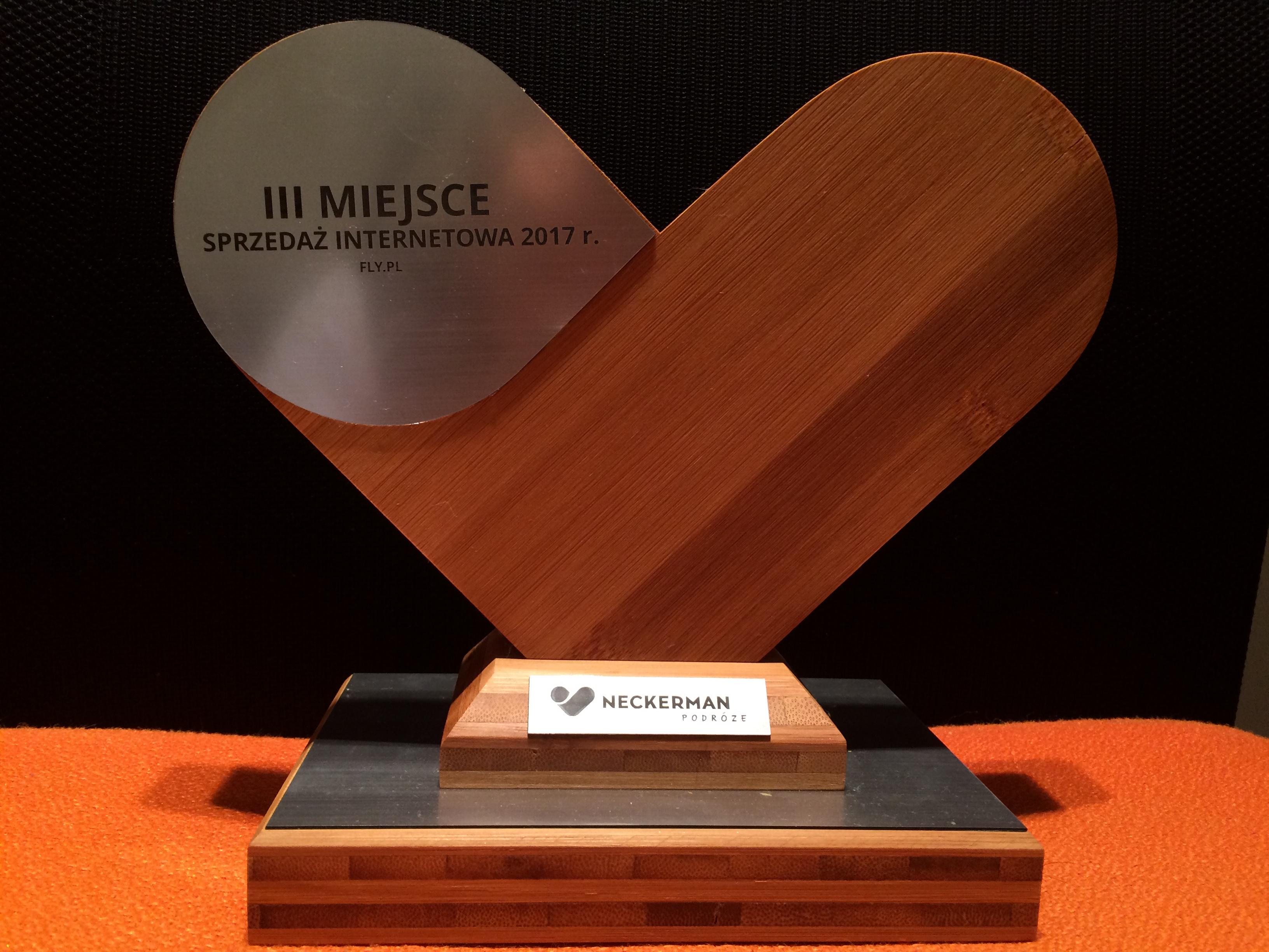 Nagroda za zajęcie III miejsca w sprzedaży internetowej 2017 r. od biura podróży Neckermann