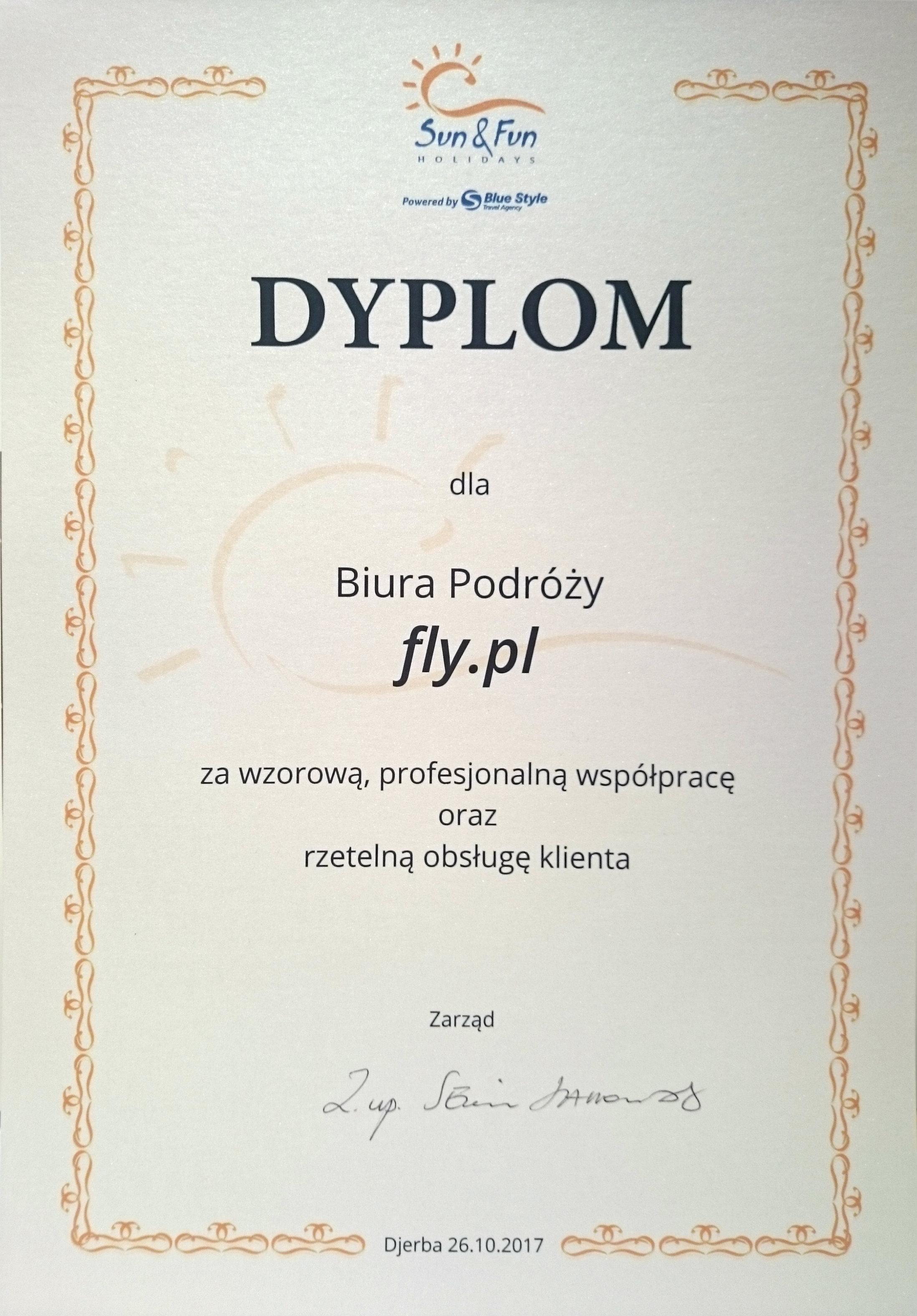 Dyplom za wzorową, profesjonalną współpracę oraz rzetelną obsługę klienta od Sun&Fun