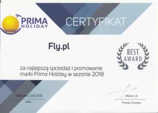 Certyfikat Best Award od Prima Holiday