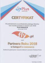 Certyfikat Partner Roku 2018 w kategorii e-commerce od Plus Wakacje