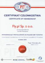 Certyfikat Członkostwa Polskiej Izby Turystyki